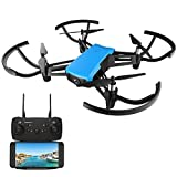 Drone avec Camera, REDPAWZ R020 RC Drone Mini Quadcopter Wifi FPV Drone 2.4G Racing Drone Altitude Hold Capteur de Gravité avec Caméra Grand Angle 720P HD RTF Headless Mode Atterrissage Une Touche Avec Moteur Brossé 8520- Bleu