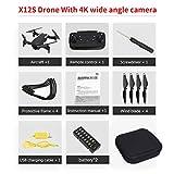X12S Drone pliable avec caméra 4K HD 4 axes HD Flow optique à flux optique WiFi Drone FPV drone grand angle hélicoptère RC Hold Altitude RC (couleur: noir)