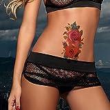 TAFLY Floral Temporären Tattoos Wasserdicht Tattoo Aufkleber Blühen Rote Rose Blumen 5 Blätter