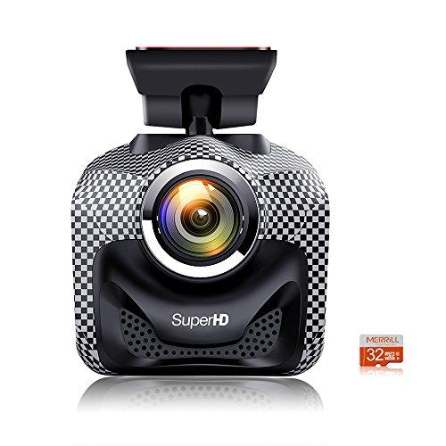 WiFi Auto DVR Kamera Autokamera Dashcam, MERRILL volles HD 1920 X 1296P 170 ° Objektiv-Auto-Kamera-Recorder mit Nachtsicht, Schleifen-Aufnahme, G-Sensor für Realzeitvideo teilen, 32GB SD Karte, beste Schlag-Kamera CR5000S