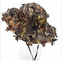 Hotour 3D Unisex Hojas Camuflaje Ghillie Caps Caza, Pesca, Outdoor Bionic Camo Ejército Sombreros Guerra Juegos Camo sombrilla Béisbol Caps, Flat Brown