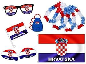 9 tlg. Alsino WM Fanpaket Kroatien FP-11 Fanartikel Fussball Fanset Fahne Caxirola Brille