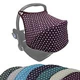 BAMBINIWELT Sonnenverdeck UV50+ für Maxi-Cosi Cabriofix, Sonnendach Babyschale, Autositz PUNKTE (bordeaux Sterne)