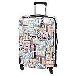 Reisekoffer 4 Rollen Trolley Koffer Hartschale NEW YORK XL 77 Bunt Leicht mit Kofferschloss
