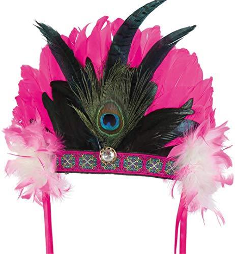 Kostüm Authentische Maya - KarnevalsTeufel Feder-Kopfschmuck in pink mit Borte und Schmuckstein Indianer Kopfbedeckung mit Pfauenfeder Inka Maya