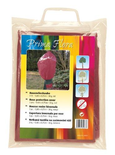 Prima Flora 600873 Lot de 3 voiles d'hivernage pour rosier Rouge 30 g 0.80 x 0.75 m