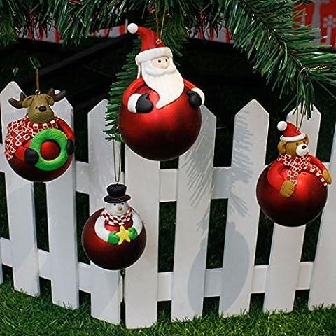 Ball Verzierung, Funpa 4Pcs Weihnachtsbaum Hängende Sankt Versorgungsmaterialien für Weihnachtsdekoration