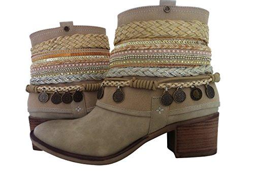 Sneaker Stiefeletten Trachtenschuhe Damen Schuhe Beige Elfenbein (39)