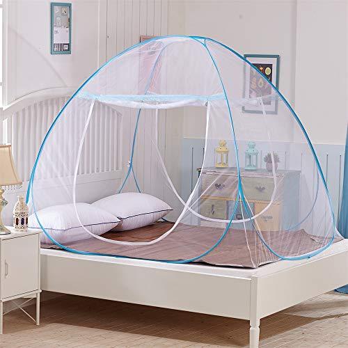GLITZFAS Moskitonetz Bett Baldachin Pop Up Faltbare Fliegennetz Doppelte Tür Anti Mückenstich Kostenlose Installation Reise Automatik Mobiler Insektenschutz (180 x 200 x 150 cm)