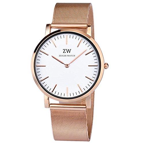 KZKR Damen Armbanduhren Fashion Damen Uhren prägnant super Dünne Quarz Analog Zifferblatt Gitter Gold Edelstahl Mesh Armband Rosegold