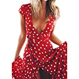 Frauen Röcke Wellenpunkt langer Abschnitt Kleid VENMO Frauen Sommer Boho Lange Abend Party Cocktailkleid Strandkleid Sundress (M, Red)