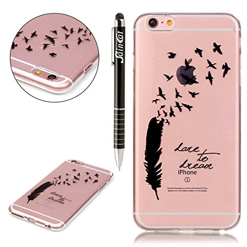 Custodia iPhone 6 Plus, iPhone 6S Plus Cover Glitter, SainCat Cover per iPhone 6/6S Plus Custodia Silicone Morbido, Custodia Bling Glitter 3D Design Transparent Silicone Case Ultra Slim Sottile Morbid Sogno piuma