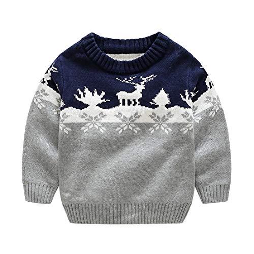 Crewneck Knit Top (Kinder Jungen Sweater Knit Pullover, Cartoon Elch Strickpullover Tops Weihnachten Herbst Pullover Crewneck Kleiden)