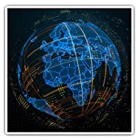 Awesome Square Stickers (Set of 2) 7.5cm - 3D Abstract Globe Planet Earth Fun Decals for Laptops,Tablets,Luggage,Scrap Booking,Fridges,Cool Gift #21059