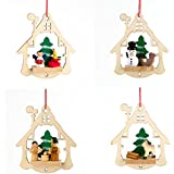 gisela graham wooden christmas tree decoration cut out house with snowman