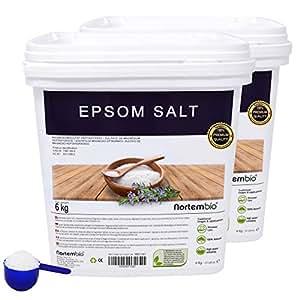 Nortembio Sale di Epsom 2x6 kg, Fonte Concentrata di Magnesio, Sale Naturale al 100%. Bagno e Cura Personale.