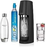 sodastream Pack Machine Spirit + Bouteille Fuse Base Métal Pet 1L, Plastique, Noire, 19,5 x 19,5 x 43,5 cm
