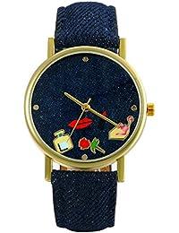 Lancardo Reloj Analógico de Cuarzo Correa de Cuero de Textura de Vaquero Dial con Dibujos de Comésticos/Flor/Perfume/Lapiz Labial Impermeable Casual para Hombre/Mujer/Pareja (Azul Oscuro)