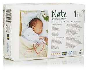 Naty by Nature Babycare Couches Écologiques pour Bébé Taille 1 Nouveau-Né/2-5 kg - Lot de 2