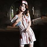 Fxwj Costume d'Halloween Infirmière de sang femmes Robe zippée Zombie Cosplay Nuisette
