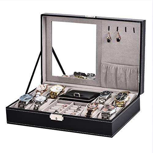 8 Steckplätze Watch Box Organizer Uhrengehäuse, Uhrenbox-Vitrine, Schwarzes PU-Leder, Schmuck-Organizer Für Männer Und Frauen