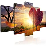 murando - Bilder 200x100 cm - Vlies Leinwandbild - 5 Teilig - Kunstdruck - Modern - Wandbilder XXL - Wanddekoration - Design - Wand Bild - Natur Landschaft Blumen c-C-0015-b-n