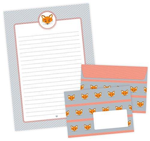 Briefpapier-Set FUCHS 22 Blatt Briefpapier A4 + 11 Umschläge C6 mit FUCHS in GRAU ORANGE • Zum Schulanfang/Schlaufüchse