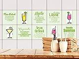 GRAZDesign 770506_15x15_FS10st Fliesenaufkleber grün Cocktail-Rezepte für Küche | Klebefliesen für Deine Wand selbstklebende Fliesen-Folie | alte Fliesen überkleben (15x15cm//Set 10 Stück)