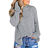 OSYARD Damen Teddy-Fleece Sweater Sweatshirt Pullover, Frauen Casual Stehkragen Side Split Langarm Strick Pullover Outwears Top Bluse T-Shirt Winter Rollkragen Cardigan Lose Oberseiten(S, Grau)