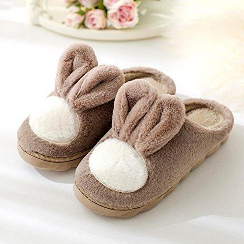 DogHaccd pantofole,Il cotone pantofole donne indoor inverno bella lana spesse pantofole maschio d'inverno le coppie che soggiornano nel gancio Caffè di luce1