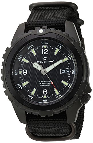 Momentum Men's 'Night Vision' Quartz Stainless Steel and Nylon Diving Watch, Color:Black (Model: 1M-DV68B7B)