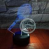 GIRLXV Cadeau De Décoration Créatif Vacances Cadeau Raquette De Tennis 3D Lumière Nocturne Créative Tactile Coloré Charge Charge Led Stéréo Lumière Cadeau Lumières