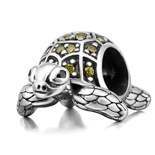 Schildkröte-Charm, 925er-Sterlingsilber, Seeschildkröte, Tier-Anhänger für Pandora-Bettelarmbänder C