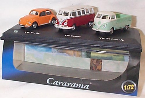 cararama-3-piece-volkswagen-orange-beetle-samba-and-t1-pickup-set-172-scale-diecast-model