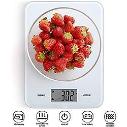 himaly 8kg/1g Balances de Cuisine Alimentaire Electronique Haute Précision Ecran LCD Rétroéclairé pour Cuisine Précise Cuire au Four Bijoux en Verre Trempé