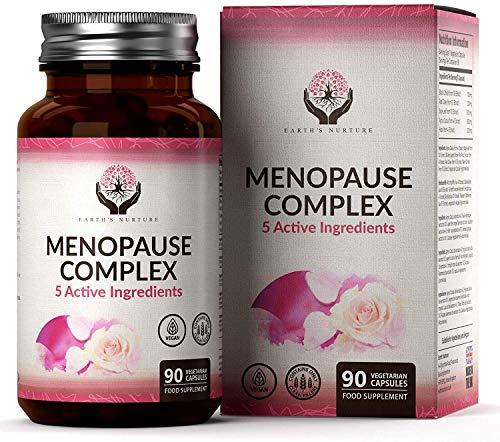 Earths Capsule Integratore Menopausa | Supporta un Sollievo Rapido ed Efficace dai Sintomi Della Menopausa | 3 Mesi di Fornitura - 90 Compresse Vegane | 5 Ingredienti Attivi