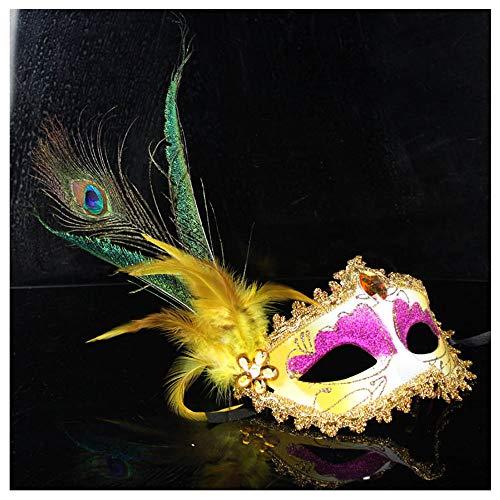 Halloween Venedig Premium Seite Pfau Ball Dance Maske Weibliche Erwachsene Feder Maske Kostüm Party Requisiten (Color : Gelb)