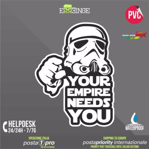 [ERREINGE] STICKER 10cm - Star Wars Your Empire Needs You Stormtrooper - Autocollant Decal Transfer Vinyle Muraux Laptop Voiture Moto Casque Scooter Camper