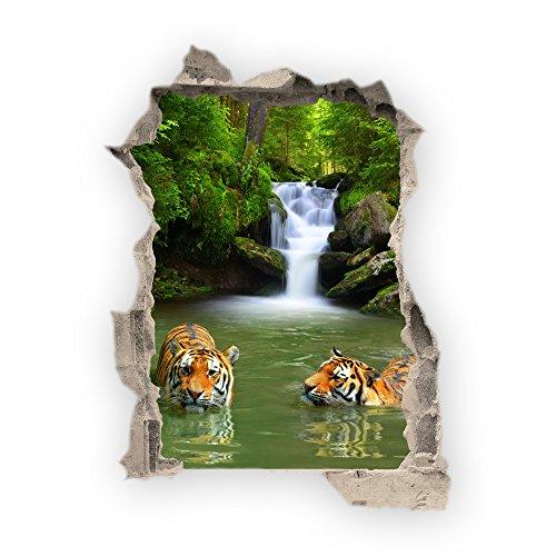 Wandbild Sticker 3D wild Life Foto Tapete Wandtattoo ca. 125x100 cm in HD Qualität #1508 (Bath with Tigers)