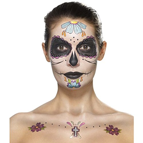 (Dia de los Muertos Schminkset Sugar Skull Makeup-Set mehrteilig bunt Tag der Toten Beauty Kit Calavera Tattoo-Set Candy Skull Make Up Halloween Mexikanische Totenmaske schminken)