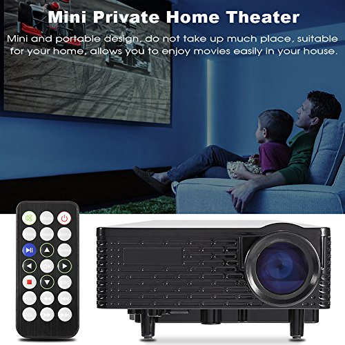 VBESTLIFE Mini Private Home Theater Portable Multimedia LED Projector Support HDMI Input AV VGA USB SD card Connected to TV box Computer White