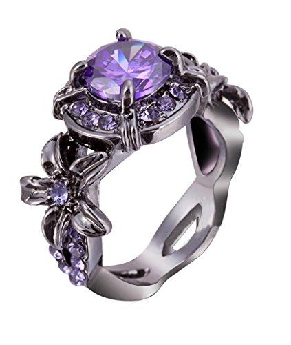 Lixinsunbu viola ametista taglio rotondo CZ artiglio anelli, misura 5-10nero placcato oro matrimonio, base placcata in oro, 19,5, colore: Purple, cod. GB0046A - Ametista Promise Ring