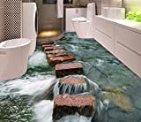 Yosot Benutzerdefinierte Foto Floor 3D Tapete Moderne Kunst Fluss Steine, Bad Boden Wandbild, 3D Selbstklebende Boden Tapete-200cmx140cm