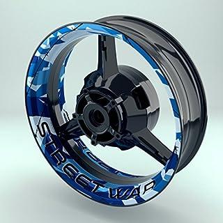 Felgenrandaufkleber Motorrad 4er Komplett-Set (17 Zoll) - Felgenaufkleber Camouflage Blau (Design 2 - glänzend)