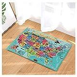 FEIYANG Enfants Carte des États-Unis Décor Cartoon Fun Faits Géographie USA Carte Tapis De Bain Tapis Antidérapant Étage Entrées Intérieur Tapis De Porte Intérieur Tapis De Bain Enfants 60x40cm