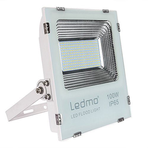 LEDMO Foco Proyector 100W Foco LED,2835 9900LM Super brillant focos led,Blanco de fundición a presión shell,6000K focos led exterior,IP65 exterior Impermeable Floodlight led