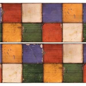 Ruban adhésif déco Washi extra large mt Casa 10 cm, carrés aux couleurs vintage