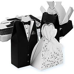100 Pares Caja de Bombones Caramelos en Forma de Novio y Novia, Regalo, Recuerdo, Favor, Detalle, Decoración para Invitados de Boda