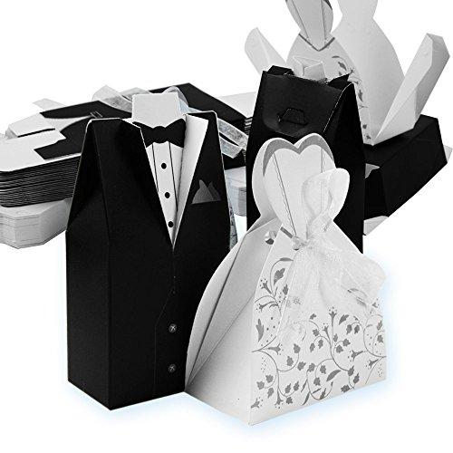 Qumao 100* sposo 100* sposa scatoline portaconfetti scatole carta bomboniere segnaposti per matrimonio nozze festa anniversario (100 paia)