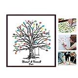 Poitemsis Fingerabdruck Familienmitglieder Baum Leinwand Daumenprint Baum Vorlage für Hochzeit Gästebuch Schild Alternative Kinder Geschenke Lehrer Wertschätzung (ohne Fotorahmen)